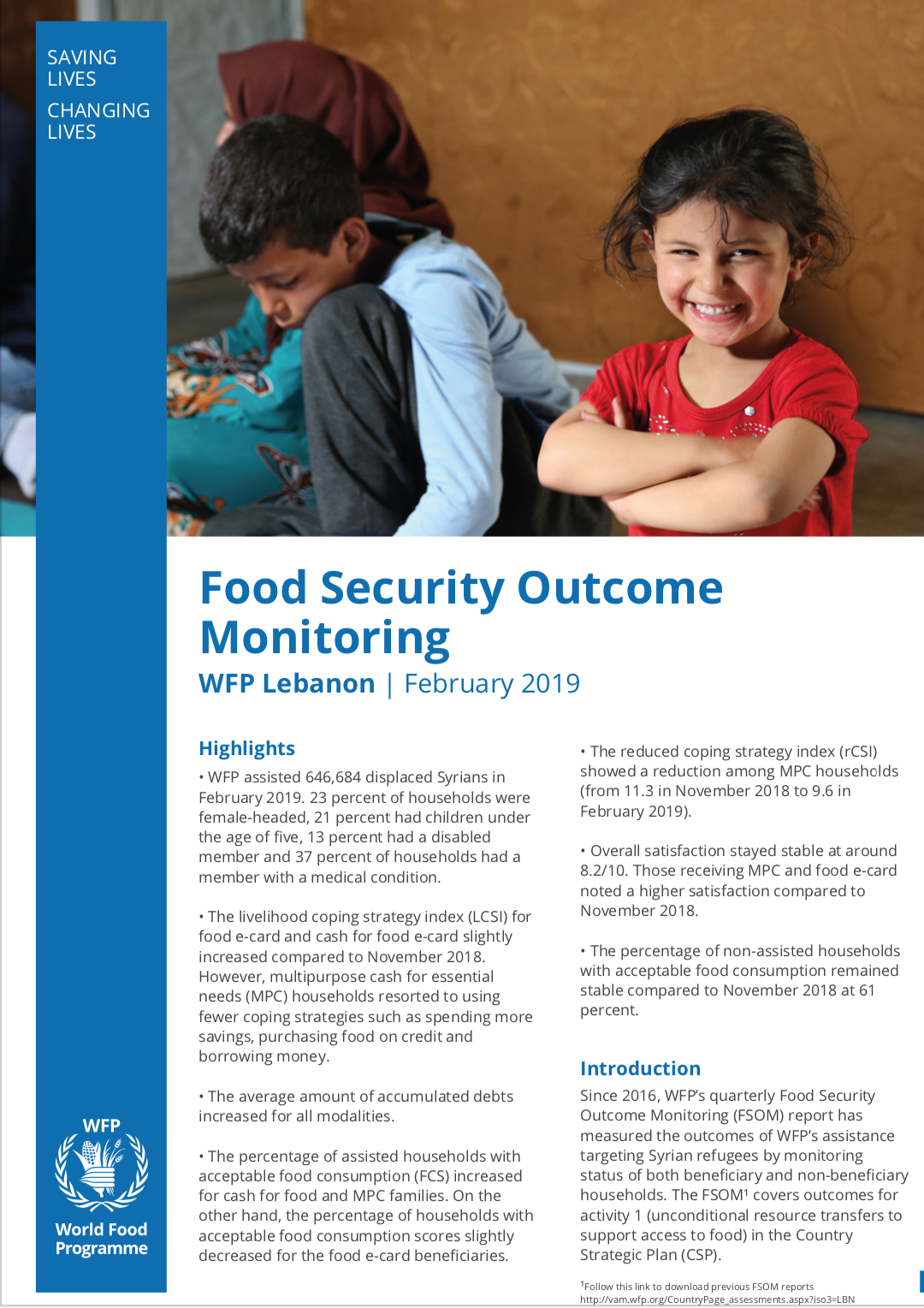 Food Security Outcome Monitoring Report (Feb 2019)