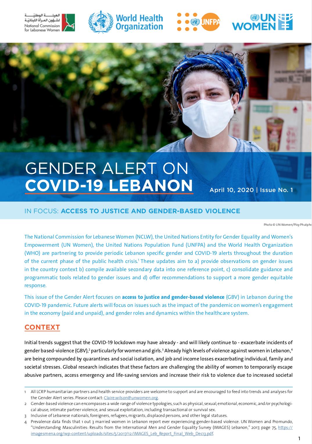 Gender Alert 1 on COVID Lebanon