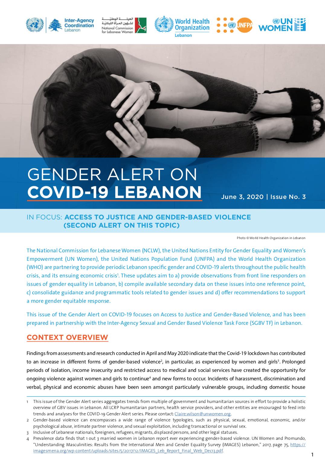 Gender Alert 3 on Covid Lebanon