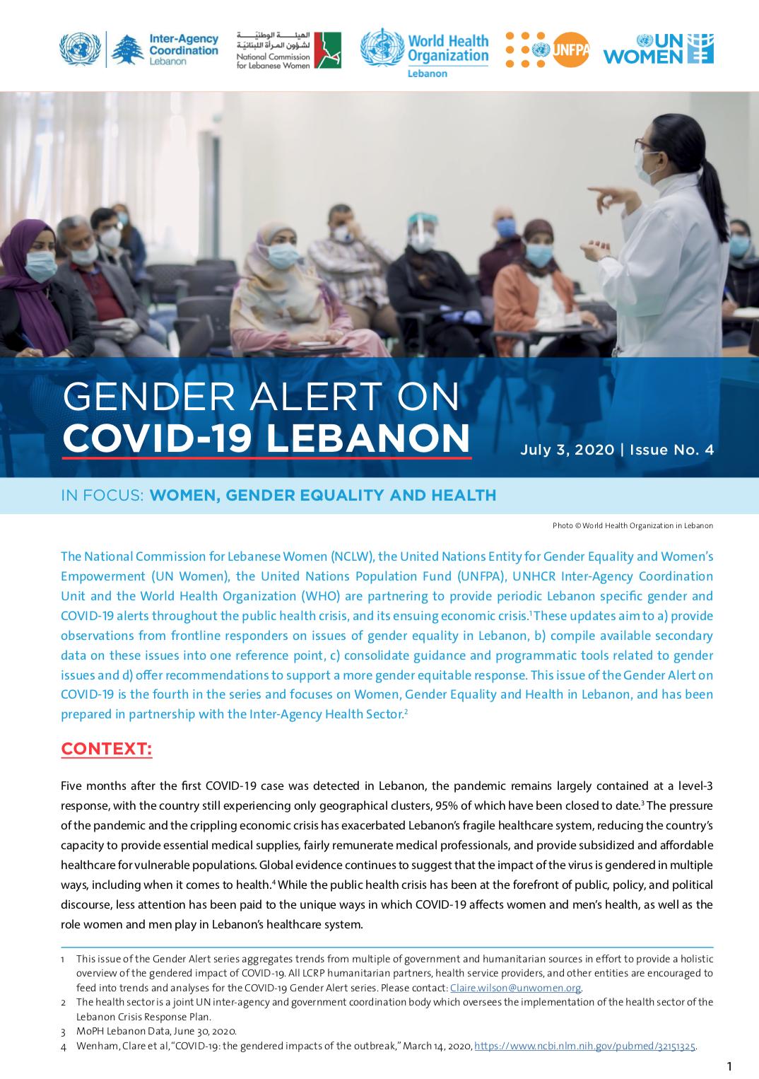 Gender Alert 4 on COVID-19 in Lebanon
