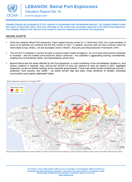Lebanon: Beirut Port Explosion - Situation Report No.16