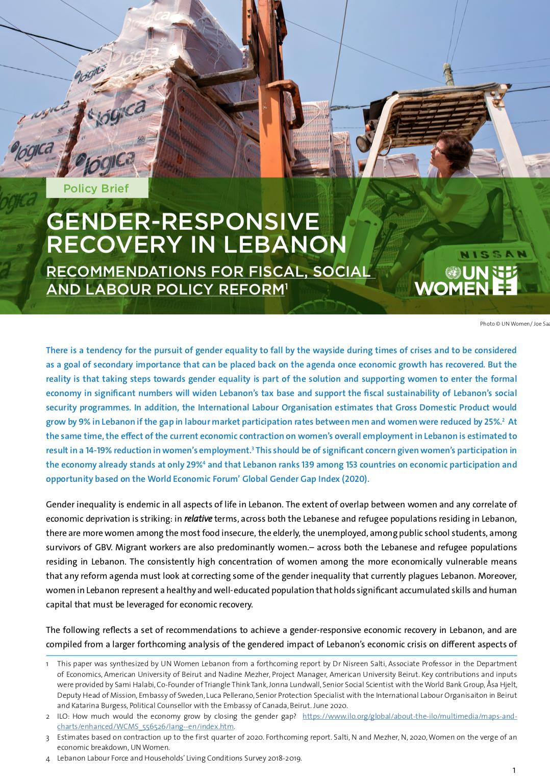 Gender-Responsive Recovery in Lebanon
