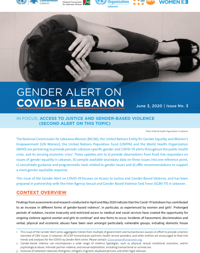 Gender Alert 3 on Covid Lebanon