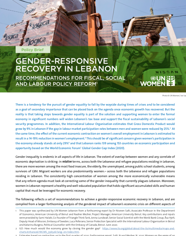 Gender-Responsive Recovery in Lebanon