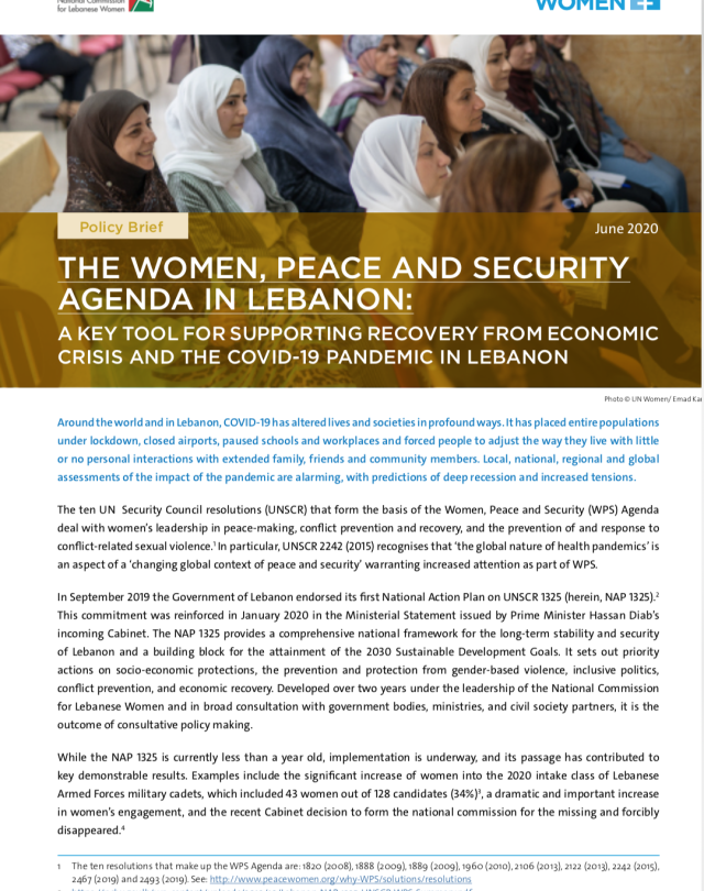 The Women, Peace, and Security Agenda in Lebanon